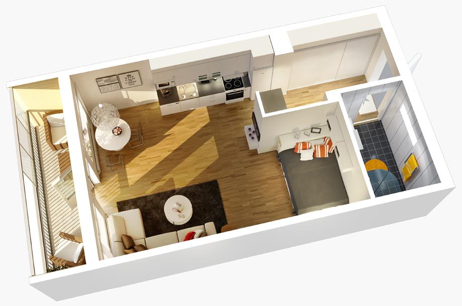 Комната и кухня планировка фото